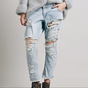 One Teaspoon Lonely Boys Destroyed Light Jeans